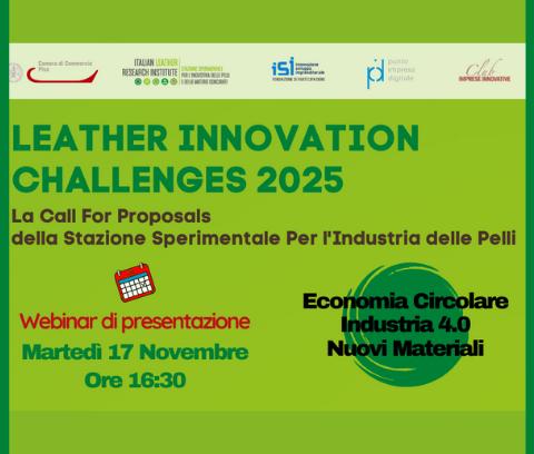 """Fondazione ISI e SSIP: il 17 novembre il webinar di confronto su """"Leather Innovation Challenges 2025"""""""