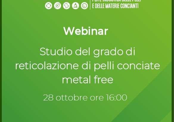 """Webinar 28.10.2021 – """"Studio del grado di reticolazione di pelli conciate metal free"""""""